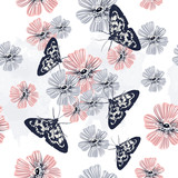 Beautiful floral pattern with vintage flowers and butterflies - 216901817
