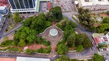 Beautiful aerial view of Costa Ricas yellow Museum in San Jose