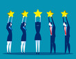 Stars rating, Business people are holding stars over the heads. Concept business vector illustration.
