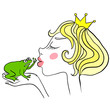Young princess kisses unhappy green frog. Frog does not want to kiss the girl.