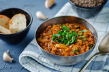 Cabbage Lentil stew with parsley in a bowl - 216923417
