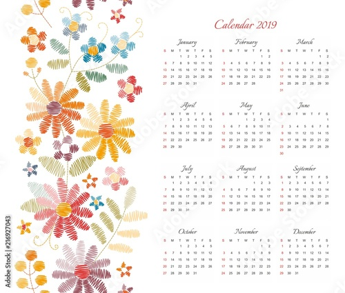 cute calendar for 2019 year week starts on sunday vector template with floral ornament