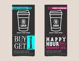 Coffee coupon card voucher template in chalkboard design. Buy 1 get free and Happy hour concept. Vector illustration