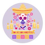 Dia de los Muertos Halloween Guitar Skull Pipe Flowers Cactus Daisies - 216929822