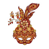 vector carnival golden mask for theater and festivals - 216933853