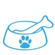Handgezeichneter Hundenapf in blau