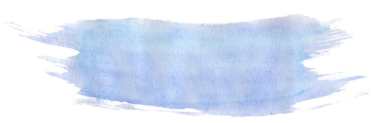 Blue watercolor stroke with brush's texture, hand-painted illustration © Galina's Tales