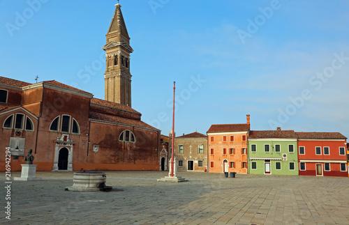 square of the island of Burano near Venice in Italy