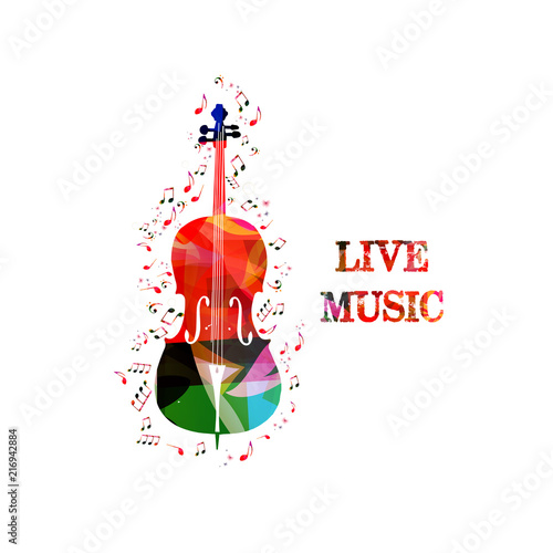 Music colorful background with music notes and violoncello vector illustration design. Music festival poster, live concert, creative cello design © abstract
