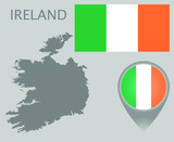 Colorful flag, map pointer and gray blank map of Ireland. High detail. Vector illustration