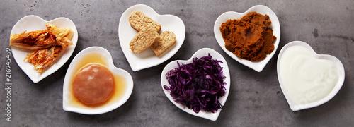 Leinwandbild Motiv Variety of healthy fermented foods banner