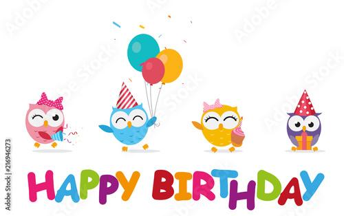 Fotobehang Uilen cartoon Happy birthday celebration with cute owl