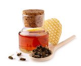 A bottle of tinctures on dead bees and dead bees in a wooden spoon. Treatment with dead bees. Dead bees do not buzz but heal. - 216955025