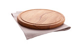 Board for pizza and tablecloth isolated on white. Canvas, dish towels on white background top view mock up. Selective focus. - 216958879