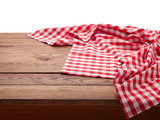 Red checkered tablecloth on wooden table isolated. Napkin close up top view mock up. Kitchen rustic background. - 216959407