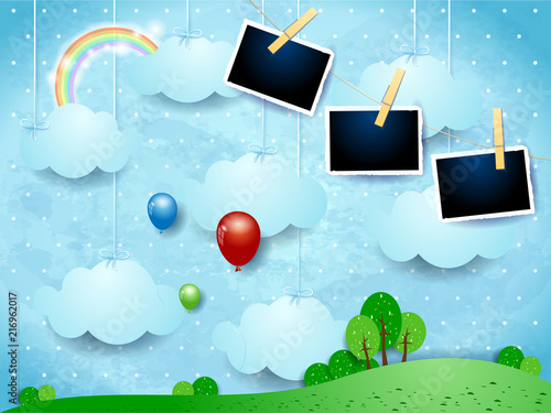 Foto Spatwand Lichtblauw Surreal landscape with hanging clouds, balloons and photo frames