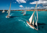 French Riviera - old sail race start aerial view with Antibes view - 216963404
