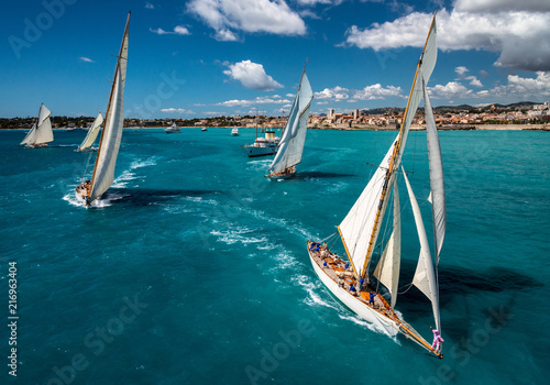 French Riviera - old sail race start aerial view with Antibes view