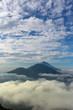 Leinwandbild Motiv volcano Batur, Bali island, Indonesia. Sunrise, cloudy weather