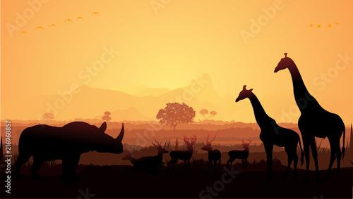 Fotobehang Bruin Wild animals silhouette