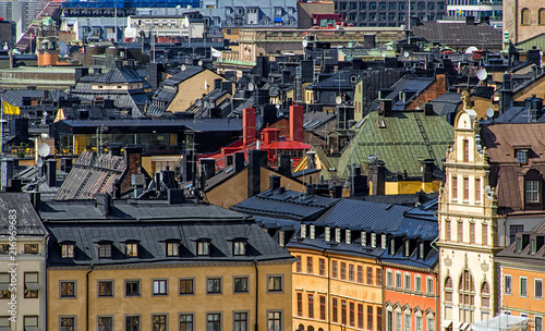 In de dag Stockholm Old town of Stockholm - popular touristic attraction. Sweden