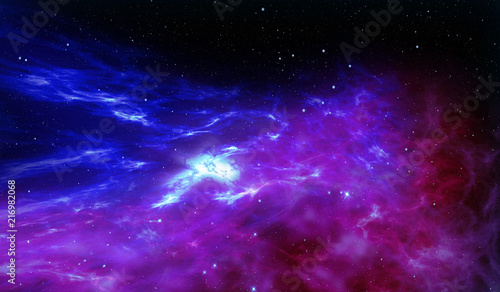 The cosmos with stars birth in nebula clouds. Galaxy abstract 3D illustration. Concept of space journey and exploration.