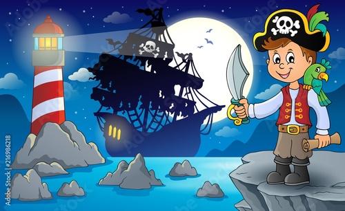 Canvas Voor kinderen Pirate boy topic image 3