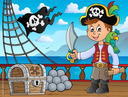 Canvas Voor kinderen Pirate boy topic image 4