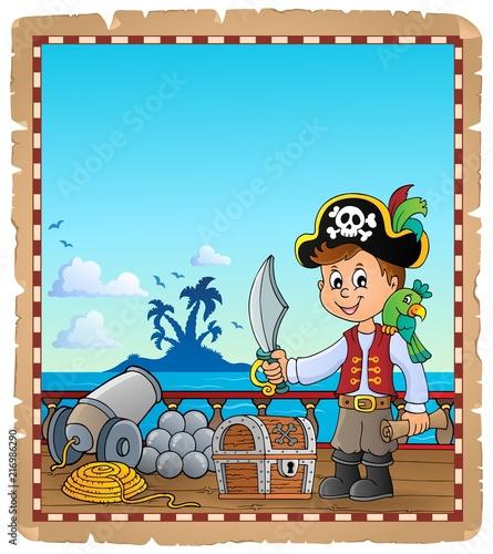 Canvas Voor kinderen Pirate boy topic parchment 1