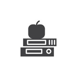 Text books with apple vector icon. filled flat sign for mobile concept and web design. Knowledge solid icon. Education Symbol, logo illustration. Vector graphics - 216988668