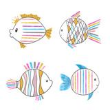 Set of cute cartoon fish. Vector illustration.