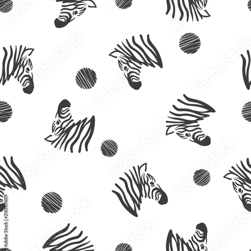 Black and white seamless pattern with zebra heads. - 216989689