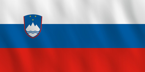 Slovenia flag with waving effect, official proportion.