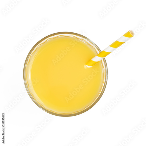 Canvas Sap Top view of yellow soft drink in glass. Isolated on white background