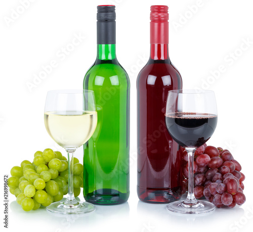 Wine tasting wines red white alcohol grapes isolated - 216998672