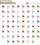 Isometric flag collection, countries of Europe.