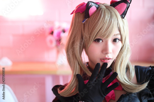 Portrait of Japan anime cosplay girl in pink tone - 217000858