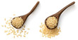 raw brown rice in the wooden spoon, isolated on the white background, top view