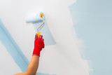 Painter hand painting a wall with paint roller - 217002889