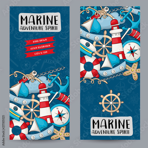Marine nautical travel concept. Vertical banner template set. Modern ...