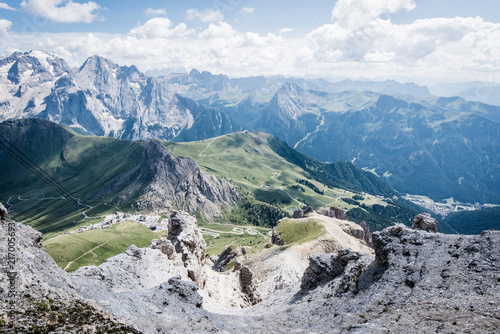 Aluminium Blauwe jeans View of the Dolomites mountain - UNESCO heritage - from the top of the Sass Pordoi, Canazei.