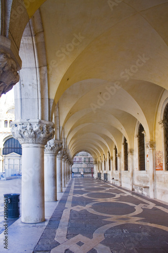 Ancient Arches Columns of Doge's palace in Venice, Italy