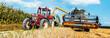 Leinwanddruck Bild - Getreideernte,Mähedrescher im Weizen Feld