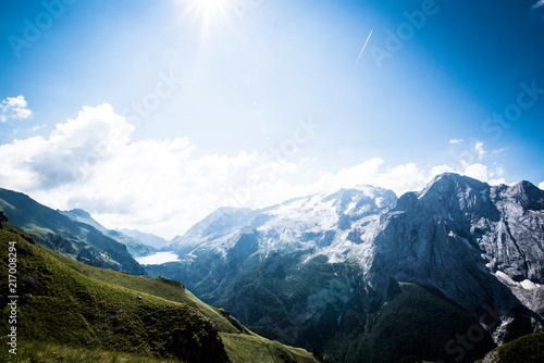 Marmolada glacier, Val di Fassa Valley and Fedaia Lake