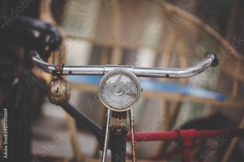 In de dag Fiets handle of vintage bicycle adjust color retro tone