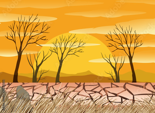 Fotobehang Kids A drought desert scence