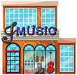 Exterior of large music shop