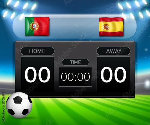 Fotobehang Kids Portugal VS Spain scoreboard