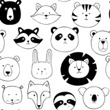 Vector seamless pattern with animals - 217017202