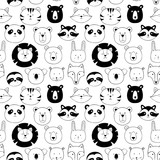 Vector seamless pattern with animals - 217017233